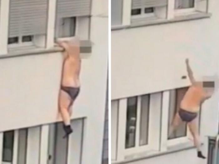 Непонятно, почему мужчина в трусах и носках свисает из окна и падает на машину внизу