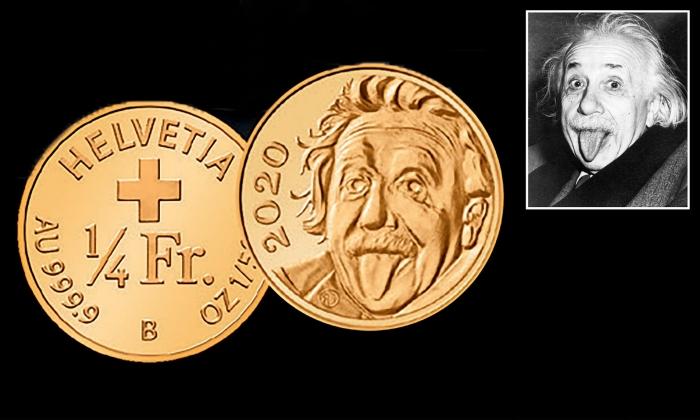 В Швейцарии отчеканили монету из золота с Альбертом Эйнштейном высунувшим язык