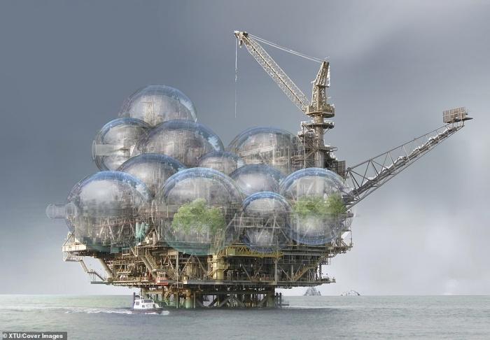 Архитекторы показывают, как заброшенные нефтяные вышки можно превратить в плавучие зеленые города с ветряками, садами и водопадами