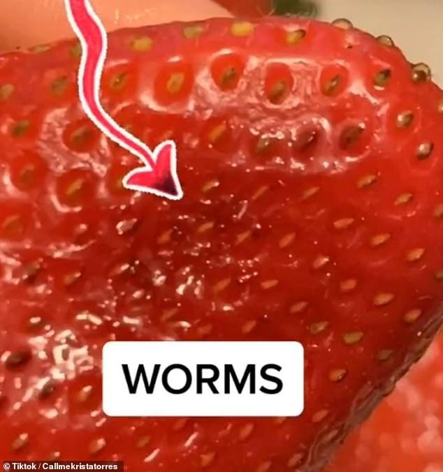 «Я больше не буду есть клубнику!» Ужасное видео в TikTok показывают червяков, вылазящих из свежей клубники, когда её окунули в соленую воду