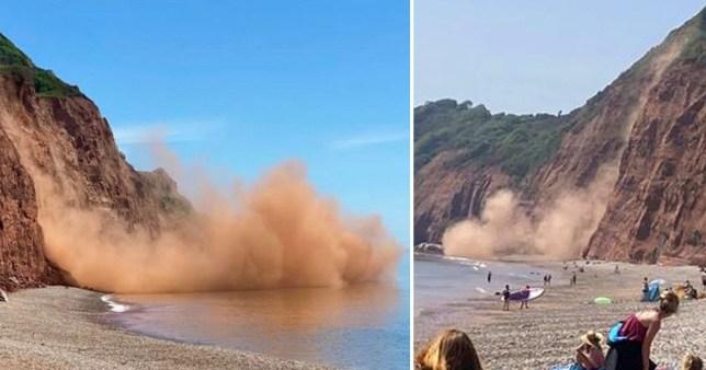 Скалы обрушаются на пляж, поднимая огромное облако пыли