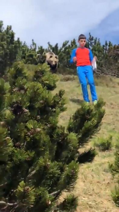 Страшный момент родители смотрят, как огромный медведь преследует смелого 12-летнего мальчика