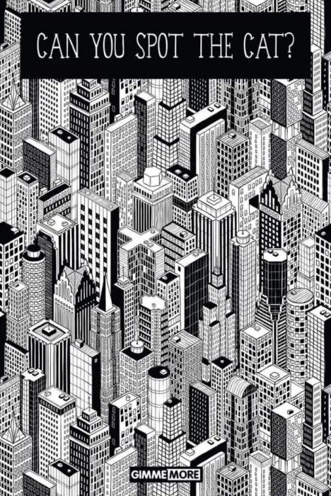Дьявольски хитрая головоломка предлагает вам найти кота на этой картинке многоэтажного города
