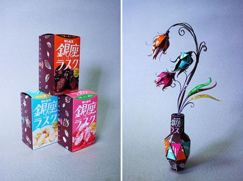 Из обычных упаковок из-под продуктов художник изготовляет миниатюрные скульптуры