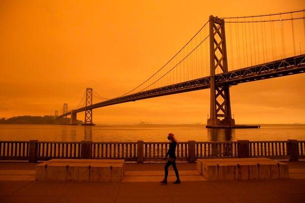 Калифорнийские лесные пожары несут смерть жителям Сан-Франциско в апокалиптическом оранжевом свете