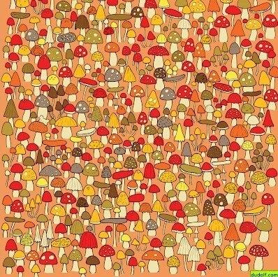 На дьявольски хитрой головоломке надо найти мышь, прячущуюся среди грибов. Сможете ли вы ее найти?