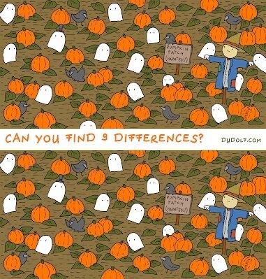 Загадка про тыквы. Найдите 9 различий между этими красивыми осенними картинками