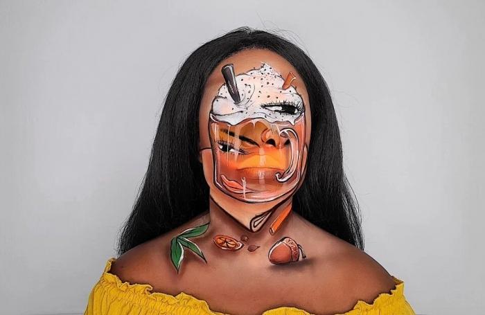 Визажист рисует невероятные оптические иллюзии на своем собственном лице включая ревущий огонь и сливочный кофе