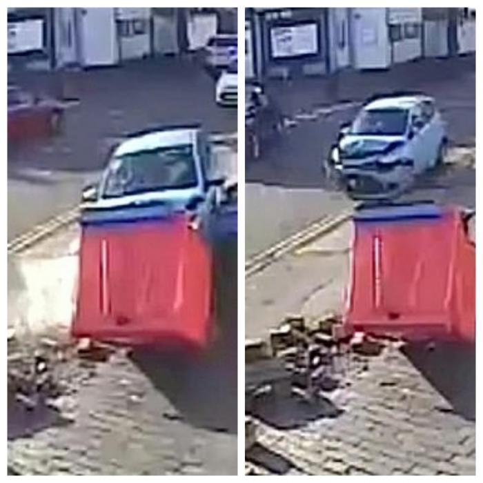 Пожилой автомобилист попадает в аварию шесть раз за одну минуту, когда он крутится по улице, врезаясь в три машины и стены
