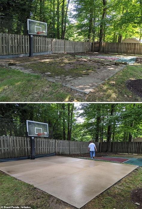 Фото показывают, как сильно отличается хорошая чистка, включая баскетбольную площадку, найденную под слоем грязи