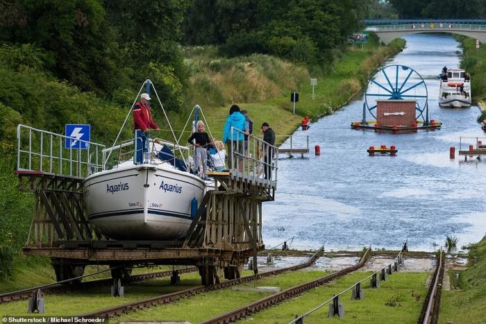 Никаких шлюзов, суда на этом канале перевозятся вверх и вниз по холмам по системе железнодорожных путей, проложенных на суше