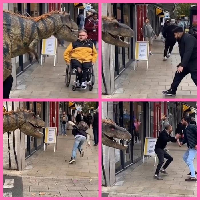 Смешно! Шутник в костюме тираннозавра вызывает панику на улице, когда испуганные пешеходы падают, спасаясь от атакующего «динозавра»