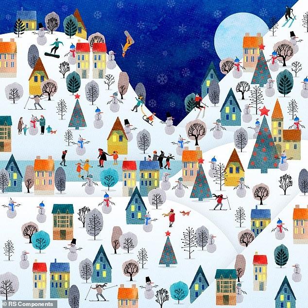 Новогодняя головоломка бросает вам вызов. Найдите робота, замаскированного под снеговика, на этой красивой зимней картинке