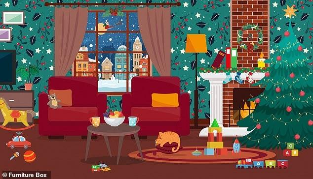 Очередная загадка для вас. Надо обнаружить шесть спрятанных рождественских подарков. У вас менее чем 90 секунд на поиски.
