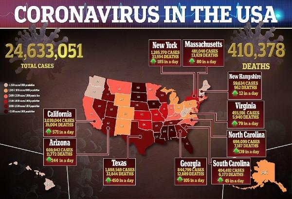 Число избирателей Джо Байдена растёт: количество умерших от коронавируса в США скоро превысит 600 тысяч человек