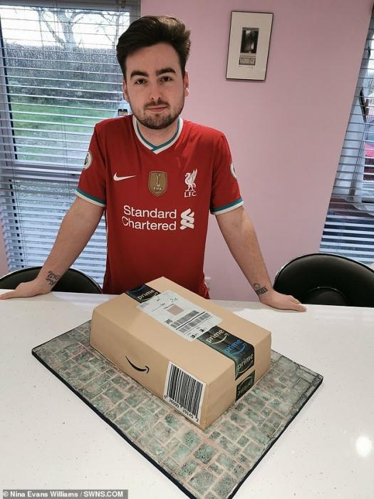 Мамаша сделала супер-реалистичный торт в виде посылки магазина Амазон на день рождения своего сына