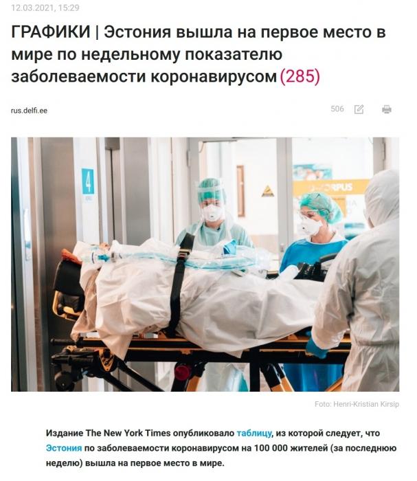 Победа демократии: Эстония вышла на первое место в мире по темпам заболеваемости коронавирусом