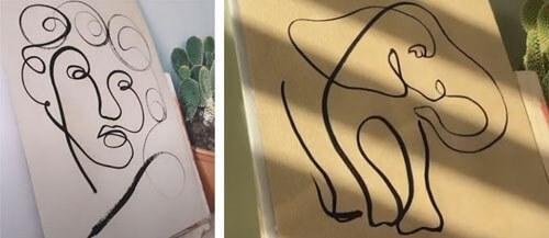 Художница создаёт картину, используя лишь одну линию