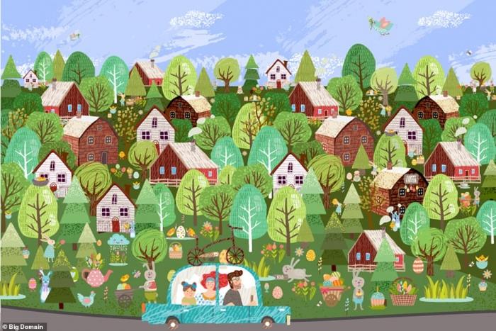 Пасхальная зрительная загадка. Вам надо найти пять кроликов, спрятанных на этой весенней картинке.  Сможете ли вы обнаружить их всех?