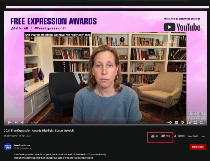 Хлестнула дерзко за предел нас отравившая свобода: гендиректор YouTube вручила премию