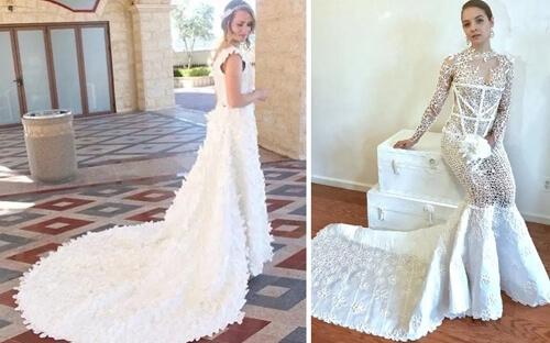 Свадебные платья из туалетной бумаги завораживают своей красотой