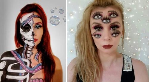 С помощью красок художница создаёт иллюзии на своём лице