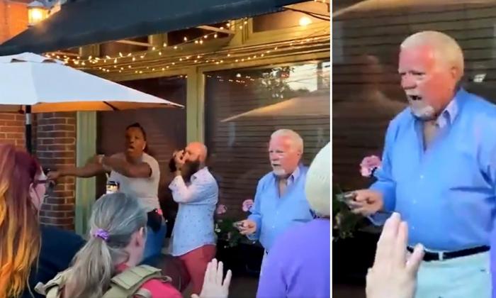 В Луисвилле владелец вытаскивает пистолет и наводит на вооруженных протестующих BLM после того, как они окружили его элитный ресторан