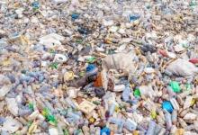 Отчаянные мужчины, плавают в лагуне с пластиковым мусором. Они собирают пластик для продажи