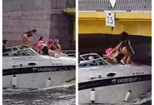 Ох, как больно! Женщина в Санкт-Петербурге на прогулочном катере ударяется головой о низкий мост